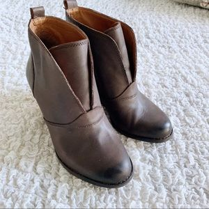 Lucky Brand Brown Yasmine Leather Wedge Booties